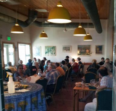 Friends pack the house at our Le Petit Cafe Dine Out.