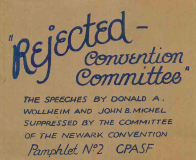 CPASF Pamphlet 2 - Rejected - Convention Committee Cover