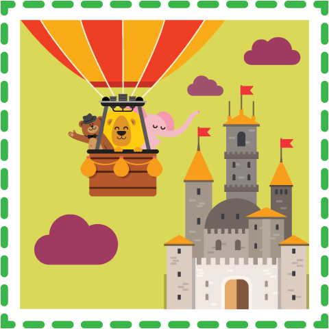 a castle and hot air balloon