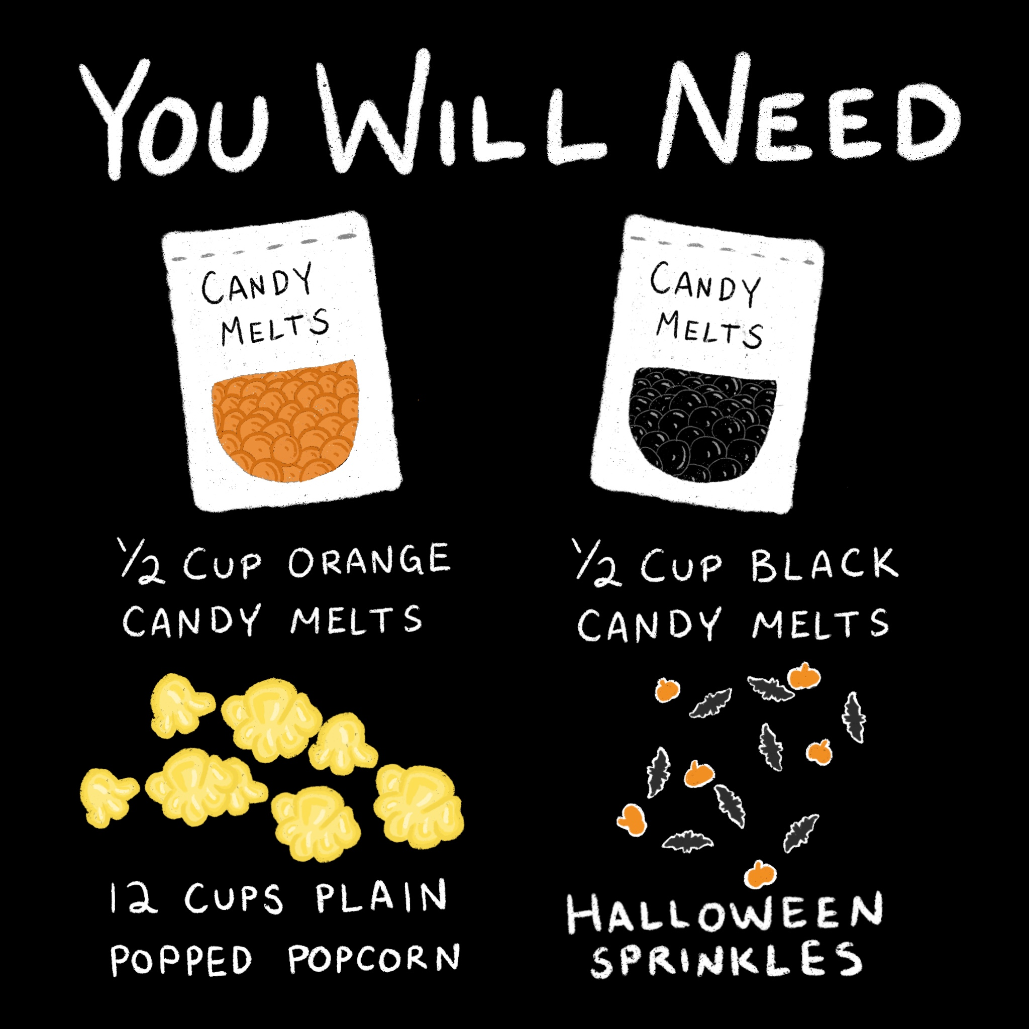 image with the text you will need: 1/2 cup orange candy melts, 1/2 cup black candy melts, 12 cups plain popcorn, halloween sprinkles