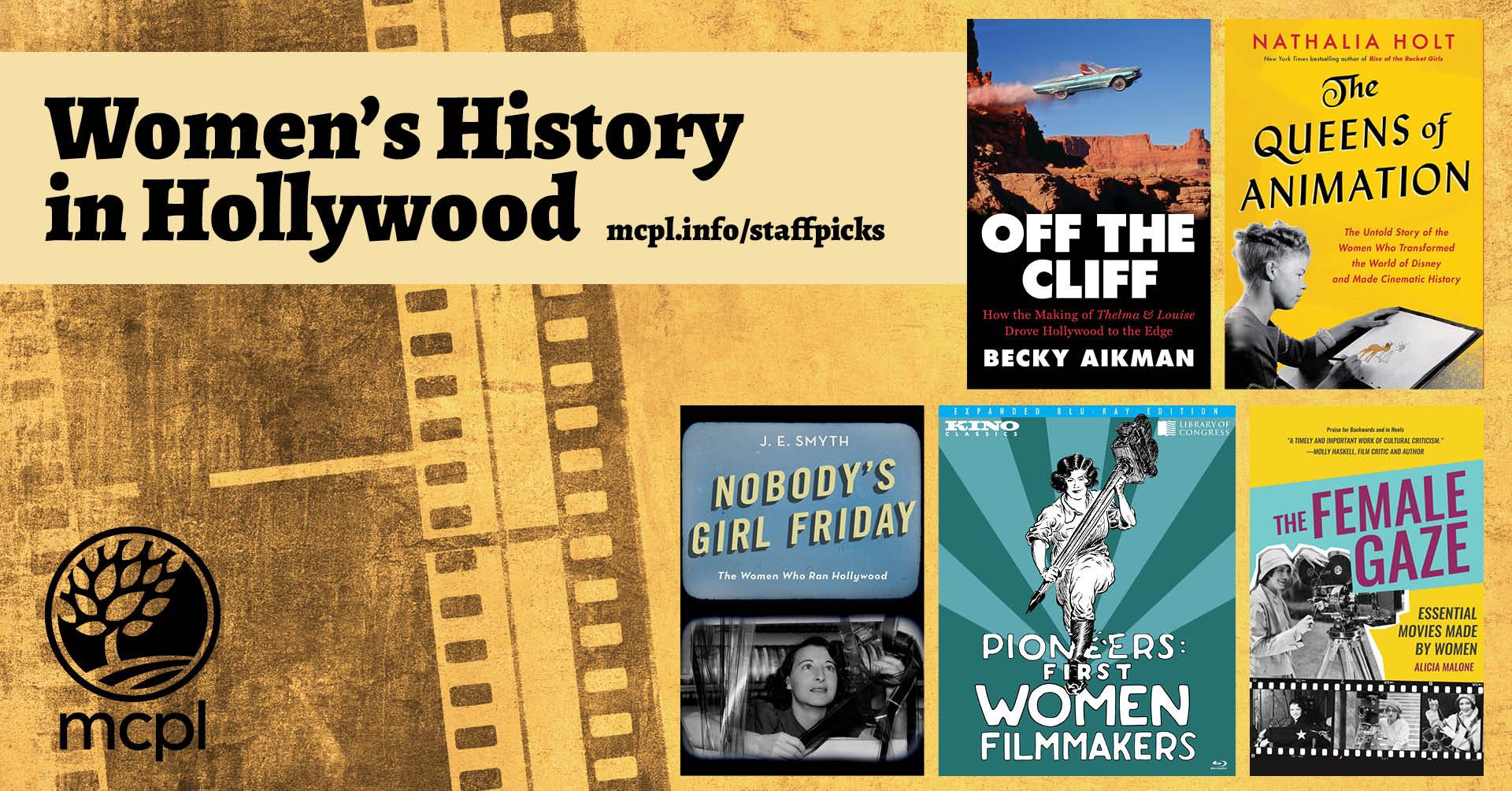 Covers of books about Women's history in Hollywood over a sepia colored film background.