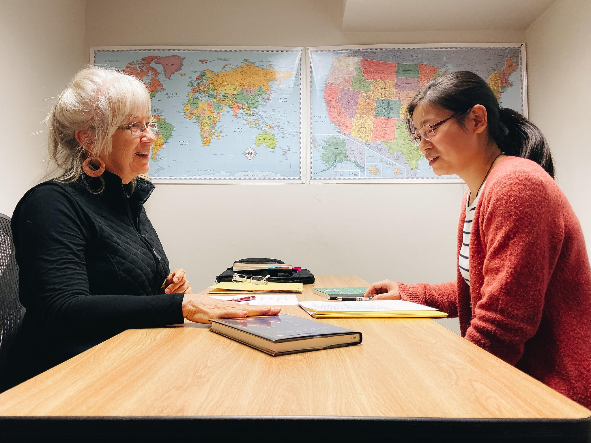 Patsy working with learner Jianhong