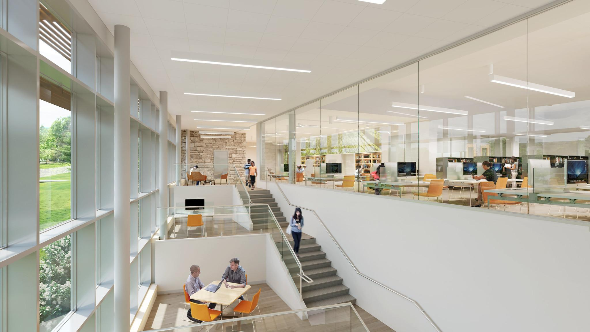 A rendered image of the Library's atrium shows small meeting spaces on the left and stairs leading to the main floor. In the background, bookshelves and computer workstations are visible behind a large glass wall. Patrons are scattered through the spaces.